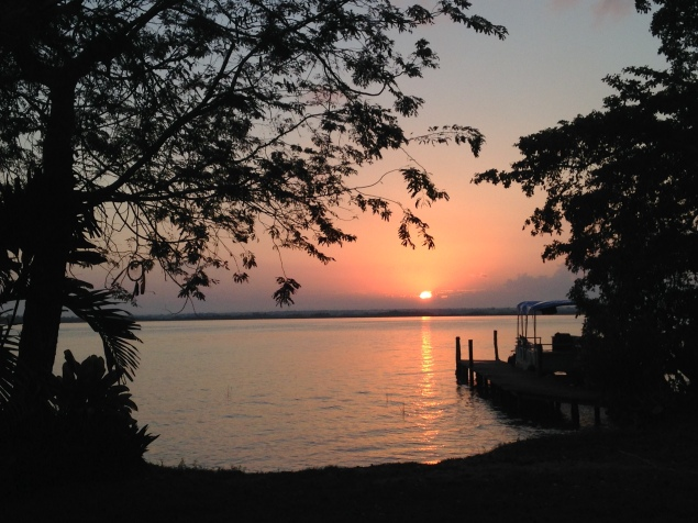 Sunrise at Bacalar Camp on our journey north