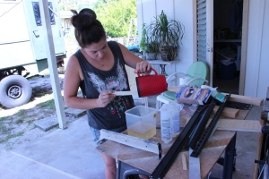 Me mixing the epoxy for the cabinets... see I do stuff besides blog and take pictures!